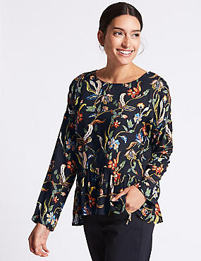 Floral Print Peplum Long Sleeve Shell Top, NAVY MIX, catlanding