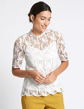 Lace Round Neck Half Sleeve Shell Top, IVORY, catlanding