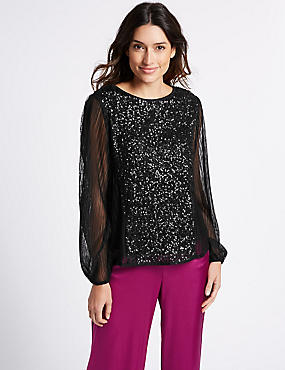 Sequin Front Round Neck Long Sleeve Blouse, BLACK, catlanding