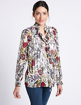 Floral Print Ruffle Neck Long Sleeve Blouse, IVORY MIX, catlanding