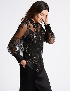 Lace Long Sleeve Shirt, BLACK MIX, catlanding