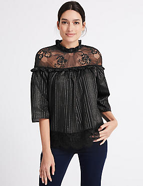 Cotton Rich Lurex Mesh Funnel Neck Blouse, BLACK, catlanding