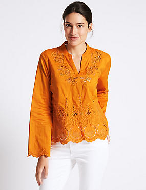 Pure Cotton Cutwork Bell Sleeve Blouse, MARMALADE, catlanding