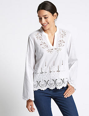 Pure Cotton Cutwork Bell Sleeve Blouse, SOFT WHITE, catlanding