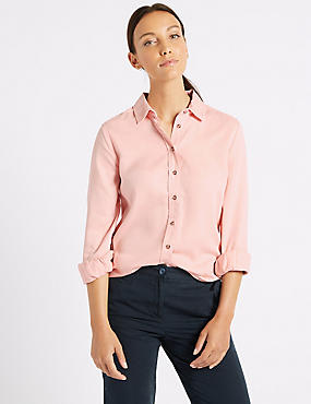 Washed Tencel Shirt, PINK, catlanding