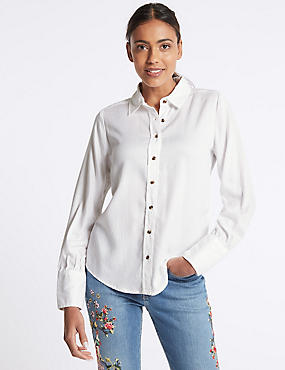 Washed Tencel Shirt, WINTER WHITE, catlanding