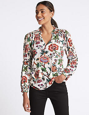 Floral Print Notch Neck Long Sleeve Blouse, IVORY MIX, catlanding