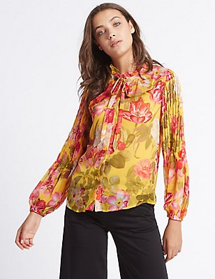 Floral Print Long Sleeve Blouse , YELLOW MIX, catlanding