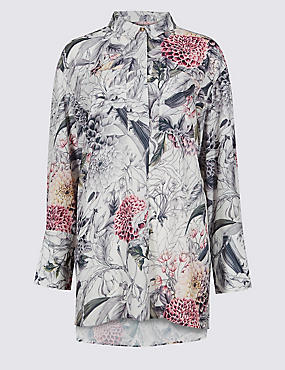 Printed Longline Long Sleeve Shirt, IVORY MIX, catlanding