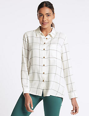 Checked Long Sleeve Shirt , IVORY MIX, catlanding