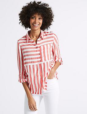 Modal Blend Striped 3/4 Sleeve Shirt, RED MIX, catlanding