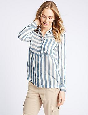 Modal Blend Striped 3/4 Sleeve Shirt, BLUE MIX, catlanding