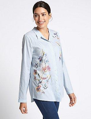 Pure Cotton Striped & Printed Shirt, BLUE MIX, catlanding