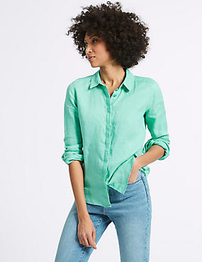 Pure Linen Long Sleeve Shirt, MEDIUM AQUA, catlanding