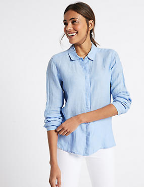 Pure Linen Long Sleeve Shirt, CHAMBRAY, catlanding