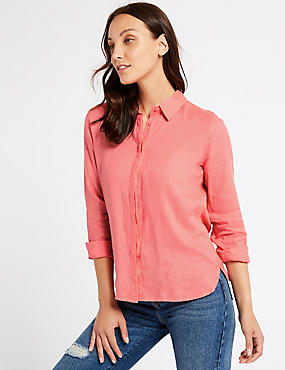 Pure Linen Long Sleeve Shirt, WATERMELON, catlanding