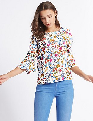 Floral Print Flute Sleeve Shell Top, IVORY MIX, catlanding