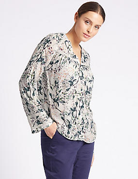 Floral Print Notch Neck Long Sleeve Blouse, IVORY MIX, catlanding