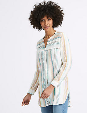 Pure Linen Striped Long Sleeve Shirt , MULTI/NEUTRAL, catlanding