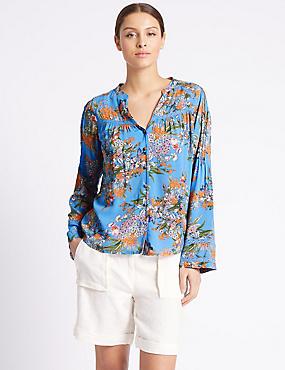 Floral Print Notch Neck Long Sleeve Blouse, BLUE MIX, catlanding