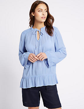 Crinkle Notch Neck Long Sleeve Blouse, POWDER BLUE, catlanding