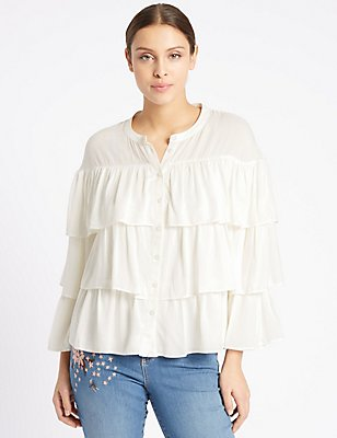 Pure Modal Ruffle Layer Long Sleeve Blouse, IVORY MIX, catlanding