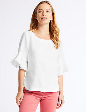 PETITE Pure Linen Ruffle Sleeve Blouse, WHITE, catlanding