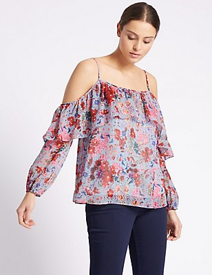 Floral Print Cold Shoulder Bardot Top, BLUE MIX, catlanding