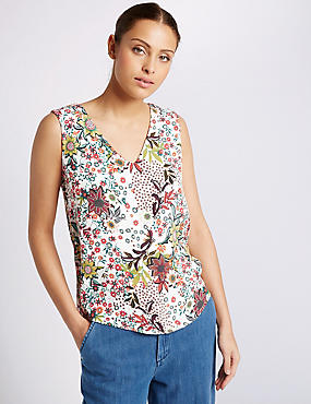 Floral Print V-Neck Sleeveless Shell Top, IVORY MIX, catlanding