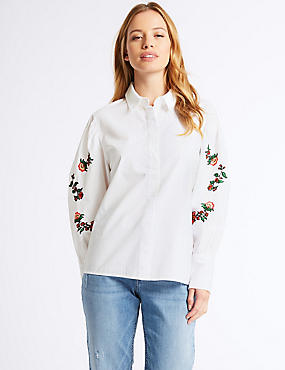 PETITE Pure Cotton Floral Embroidered Shirt, WHITE MIX, catlanding