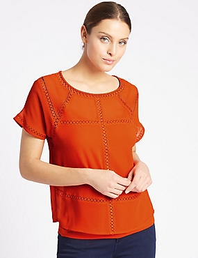 Geometric Trim Short Sleeve Shell Top, TANGERINE, catlanding