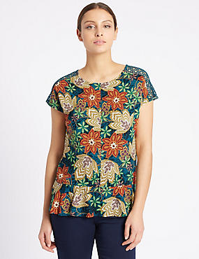 Floral Print Short Sleeve Shell Top, TEAL MIX, catlanding
