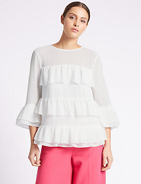 Ruffle Layer Round Neck 3/4 Sleeve Blouse, IVORY MIX, catlanding