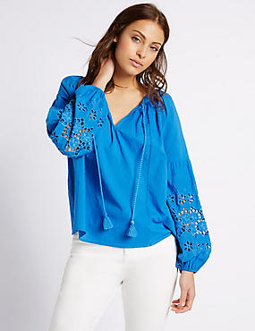 Pure Cotton Embroidered Sleeve Blouse, BRIGHT BLUE, catlanding