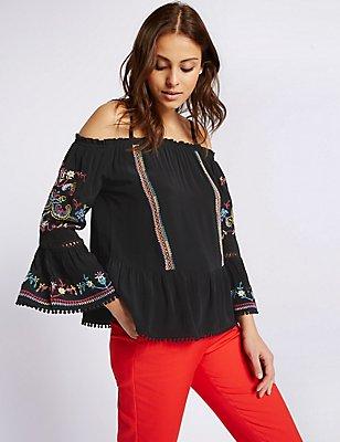 Embroidered Cold Shoulder Bardot Blouse, BLACK MIX, catlanding
