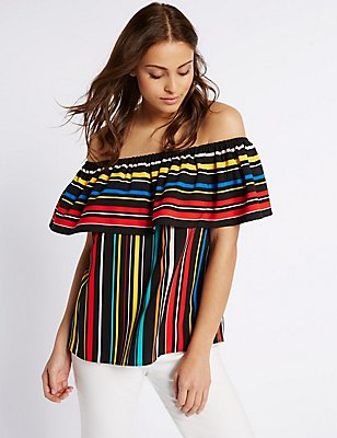 Striped Short Sleeve Bardot Top, MULTI, catlanding