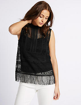 Lace Fringe Round Neck Sleeveless Shell Top, BLACK, catlanding