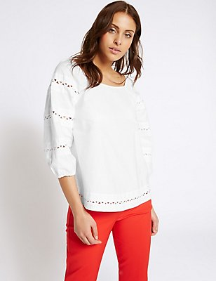 Pure Cotton Embroidered 3/4 Sleeve Blouse, IVORY, catlanding