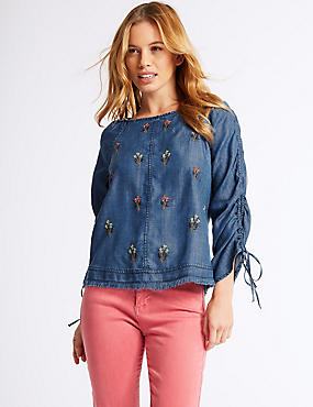 PETITE Embroidered Round Neck Blouse , DENIM MIX, catlanding