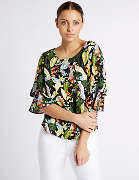 Bird Print Tiered Sleeve Shell Top, MULTI, catlanding