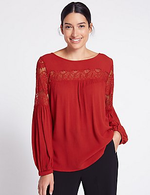 Crinkle Lace Slash Neck Long Sleeve Blouse, LIPSTICK, catlanding