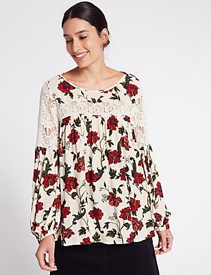 Lace Floral Print Pleated Blouse, CREAM MIX, catlanding