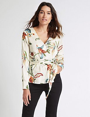 Printed Satin V-Neck Long Sleeve Blouse , CREAM MIX, catlanding