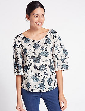 Floral Print Ruffle Sleeve Shell Top, TEAL MIX, catlanding