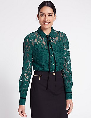 Cotton Blend Lace Long Sleeve Shirt, TEAL, catlanding