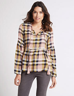 Cotton Rich Checked Long Sleeve Blouse, PINK MIX, catlanding
