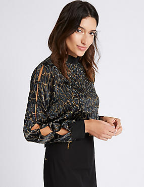 Leopard Devore Button Sleeve Blouse, BLACK MIX, catlanding