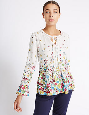 Floral Print Lace Detail Long Sleeve Blouse, MULTI, catlanding