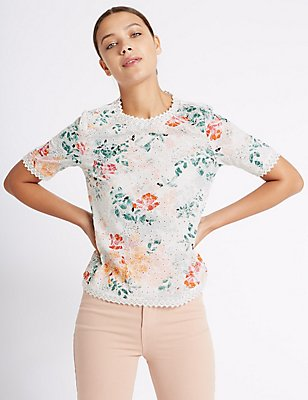 Pure Cotton Floral Embroidered Shell Top, ORANGE MIX, catlanding