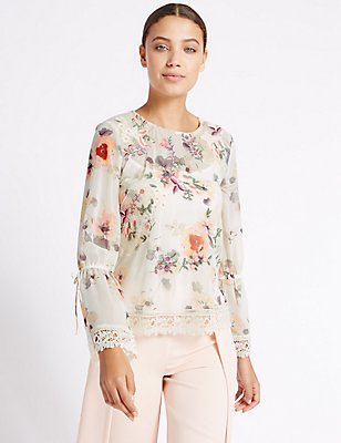 Floral Print Round Neck Long Sleeve Blouse, PINK MIX, catlanding
